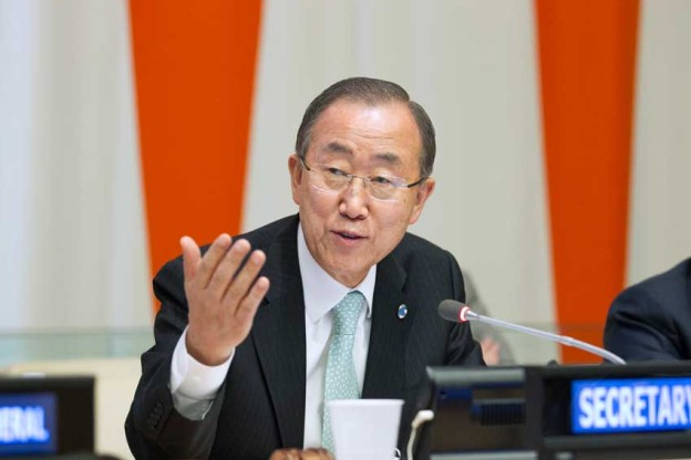 Secretary-General Ban Ki Moon adressing the Climate Change Summit 2014, 23 September 2014. UN Photo/Rick Bajornas