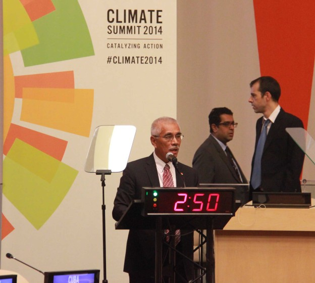 HE delivering statement at UNSG Climate Summit 23 Sep 2014, New York