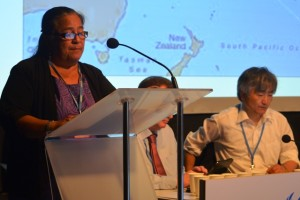 Her Execellency  Makurita Baaro delivers her speech in Lima, Peru